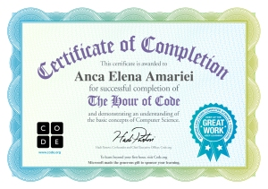 hour of code Anca Amariei
